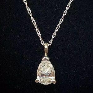 .70 Carat Pear Cut Solitaire Diamond Necklace